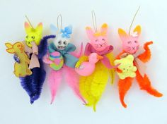 Vintage Style Easter Ornaments Set Of 4 Bunny By Teresatudor 16 00