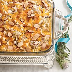 Chicken-and-Wild Rice Casserole | Using a long-grain and wild rice mix and toasted almonds in chicken casserole makes it a little bit dressier and fit for company.