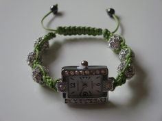 Items similar to Lime Green Shamballa Style Watch on Etsy Handmade Jewellery, Handmade Gifts, Style Watch, Beaded Necklace, Necklaces, Fashion Watches, Bracelet Watch, Lime, Rhinestones