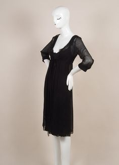 Black Silk Two Piece Silk Dress and Sheer Long Cardigan
