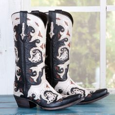 Want these!!!!! (: Ladies'+Lucchese+Black+and+Bone+Boots+