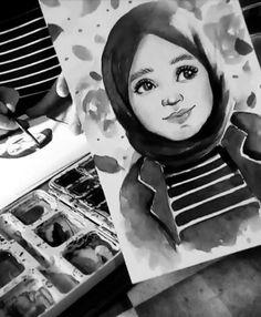 Hijab Drawing : Pinterest: @çikolatadenizi Instagram: @halimenursevim Drawing Artist, Sketch Painting, Drawing Sketches, Sketching, People Illustration, Illustration Art, Art Illustrations, Drawings Pinterest, Hijab Drawing