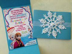 Original invitación para una fiesta temática inspirada en la película de Disney Frozen