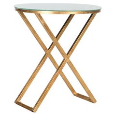@Overstock.com - Safavieh Treasures Riona Gold/ White Top Accent Table - The Riona accent table?s bold, classic style embodies the polished aesthetic of antiquity. Crafted with a forged iron base in gold leaf finish and white glass tabletop, it perfectly complements contemporary or traditional interiors.    http://www.overstock.com/Home-Garden/Safavieh-Treasures-Riona-Gold-White-Top-Accent-Table/7896484/product.html?CID=214117  $137.59