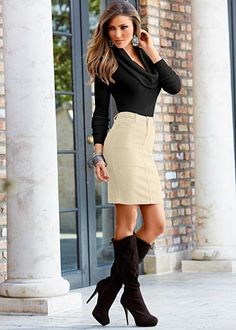 Exaggerated cowl sweater, curduroy skirt, boots
