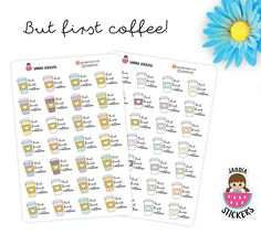 But first coffee Planner Stickers, Coffee Stickers, perfect for Planners, Erin Condren, Plum Paper, Happy Planner, Filofax, Kikki.k... de SandiaStickers en Etsy