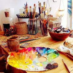 Pretty art studio-must get a wood table