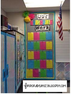 Bright Chevron and Polkadots classroom theme! Student classwork board