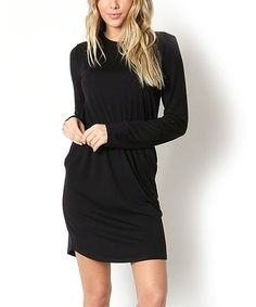 Another great find on #zulily! Black Shirred Blouson Dress #zulilyfinds