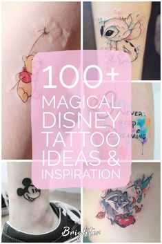 100 magical Disney tattoo ideas for every Disney fanatic. Tattoos last forever, but so does the love for Disney. Movies, charcters, quotes, discover here. Disney Tattoos Small, Disney Sleeve Tattoos, Small Tattoos, Disney Couple Tattoos, Pocahontas Tattoos, Aladdin Tattoo, Tattoo Disney, Inspiration Tattoos, Tattoo Ideas