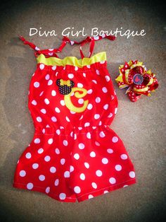 Minnie Mouse Birthday Custom Boutique Girls Clothing Romper OTT Boutique Hairbow Red Yellow Black Size 3m 6m 9m 12m 18m 24m 2T 3T 4T 5 on Etsy, $39.50