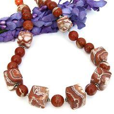Rosetta Lace Agate Gemstone Necklace Red Jasper Handmade Jewelry | ShadowDogDesigns - Jewelry on ArtFire