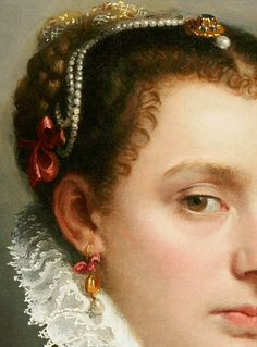 "jaded-mandarin: "" Battista. Detail from Portrait of a Young Lady, 1565. """