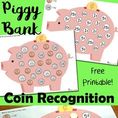 Piggy Bank Coin Recognition Printable
