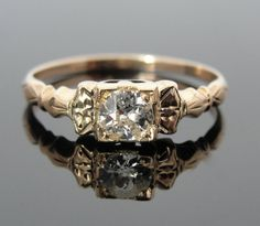 Rose Gold and Mine cut Diamond Victorian Engagement by MSJewelers, $565.00