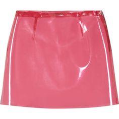 Miu Miu A-line vinyl mini skirt ($245) ❤ liked on Polyvore featuring skirts, mini skirts, bottoms, bubblegum, vinyl mini skirt, vinyl skirt, short mini skirts, miu miu and short skirts