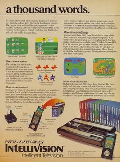 Intellivision: More realistic gaming - Click Americana Vintage Video Games, Classic Video Games, Retro Video Games, Vintage Games, Vintage Toys, George Plimpton, Consoles, Retro Arcade Games, Computer Video Games