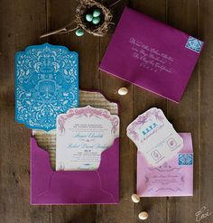 Megan and Robert Ornate Wedding Invitations by Ceci New York