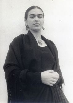 Frida in black dress~Image from the personal collection of Rosa Covarrubias.
