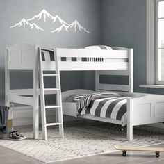 Nele European Single L-Shaped Bunk Beds Just Kids Bunk Beds With Drawers, Bunk Bed With Desk, Bunk Beds With Storage, Bunk Bed With Trundle, Cool Bunk Beds, Bunk Beds For Girls Room, Kids Bunk Beds, Small Bunk Beds, Bed Rooms