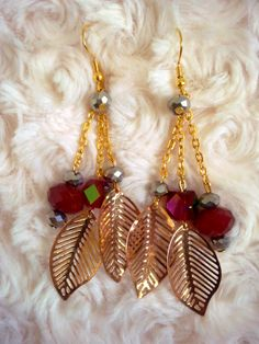 DIY Golden Leafs Earrings Drop Earrings, Bracelets, Diy, Jewelry, Bangles, Jewlery, Bricolage, Jewels, Bracelet