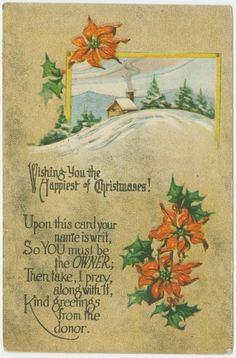 Vintage holly and poinsettia border
