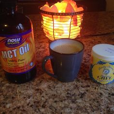Bulletproof decaf coffee made with ghee and MCT (medium chain triglycerides).  The concept behind Bulletproof is that these fats help heal the stomach and keep you satiated while boosting brain power.
