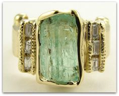 Gorgeous antique turquoise, green and gold diamond ring