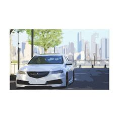 White Luxury Car in Modern Day City Canvas  $83.65  by GrandGraphics  - cyo diy customize personalize unique