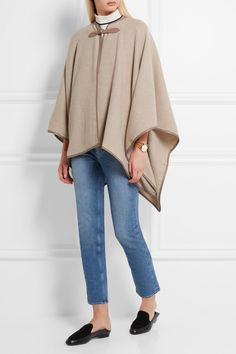 Max Mara | Verbas leather-trimmed wool cape | NET-A-PORTER.COM