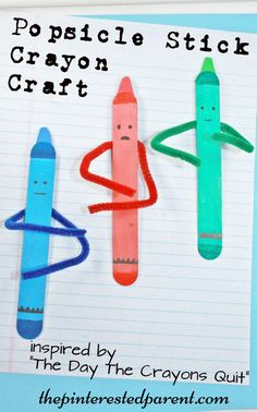 Craft stick crayon crafts inspired by the book The Day The Crayons Quit - Popsicle stick arts
