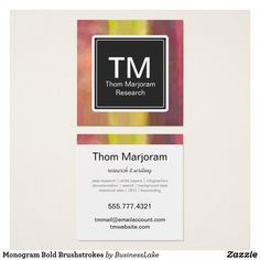 monogram bold brushstrokes square business card - Zazzle Business Cards