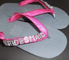 8d6c54f691cf3 BRIDESMAID Wedding Flip Flops by DesignerThongs on Etsy