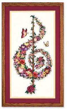 Punto de Cruz GRATIS: Nota musical de Flores