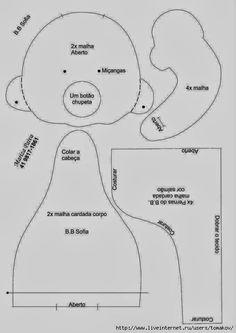 ARTE COM QUIANE - Paps,Moldes,E.V.A,Feltro,Costuras,Fofuchas 3D: Molde Boneca sentada