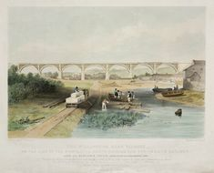 'The Willington Dean Viaduct', 1838.Coloured lithograph by G Hawkins after J W Carmichael. 'The arches of this viaduct 126 feet span each, consist of three ribs formed of deats with timber framing above. The piers and abutements are of stone- the total length is 1050 feet'. Designed and engineered by John and Benjamin Green, the viaduct was part of the Newcastle, North-Shields & Tynemouth Railway. The viaduct opened in 1838.