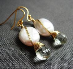 Pearl and Prasiolite Earrings Freshwater White by almostsunday