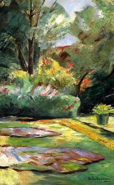 Max Liebermann (German Impressionist, 1847-1935) ~ Wannsee Garden, Flower Terrace to the Northeast