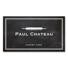 Cool Pastry Chef Rolling Pin Baker Logo - great for bread bakers, pastry chefs, bakeries and more. | chef business cards |