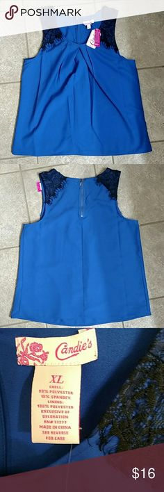 NWT Candies Lace Detail Pleated Shell NWT Tank style shell with black lace detail on shoulders. Royal Blue XL Zips at neck Shell: 90% polyester 10% Spandex Lining: 100% polyester Measurements: 19in bust & 25.5in length & 9in arm opening (Measured laying flat) Reasonable offers only NO TRADES Item described to the best of my ability. Feel free to ask questions Candie's Tops Tank Tops