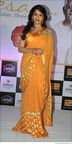 Madhuri Dixit in Yellow Designer Saree