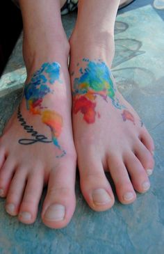 I don't love the feet placement, but the colors are beautiful!!! from 31 Incredible Map Tattoos..