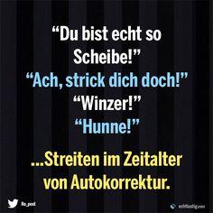 """""""Du bist echt so Scheibe!"""" """"Ach strick dich doch!"""" """"Winzer!"""" """"Hunne!"""" ... Streiten im Zeitalter der Autokorrektur"""