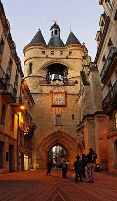 Medieval Clock Tower, Bordeaux, France photo via patty