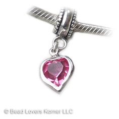 Pink Crystal Heart Charm European Charms for by beadloverskorner