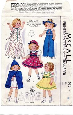 Vintage 1937 18 in Movie Star Doll Wardrobe Pattern Shirley Temple etc 310 | eBay