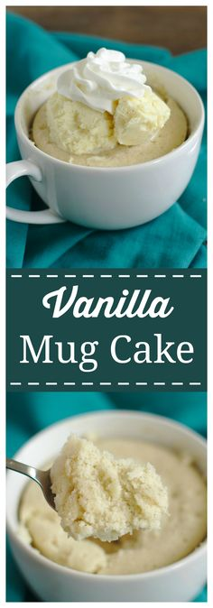 Vanilla Mug Cake – A quick and easy one minute, single serving dessert! Delicious vanilla bean cake batter microwaved in a mug for just a minute! Perfect topped with vanilla bean ice cream and whipped cream! #vanilla #dessert #mugcake #cake