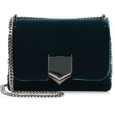 Jimmy Choo Lockett Velvet Bag ($1,305) ❤ liked on Polyvore featuring bags, handbags, bottle green, velvet purse, velvet handbags, jimmy choo, jimmy choo handbags and chain strap bags