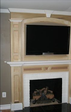 Custom Fireplace Surround TV Above Fireplace Granite Face Around ...