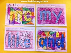 Free printable - Hidden Sight Word Coloring Worksheets. Only a sample of 3 words. You can buy a set of 25 for $4.